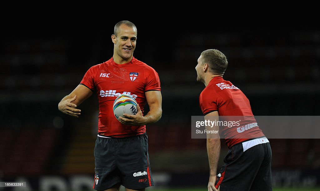 England player Lee Mossop (l) raises a smile during the England captains run, ahead of tomorrows opening match of the 2013 Rugby League World Cup against Australia at Millennium Stadium on October 25, 2013 in Cardiff, Wales.