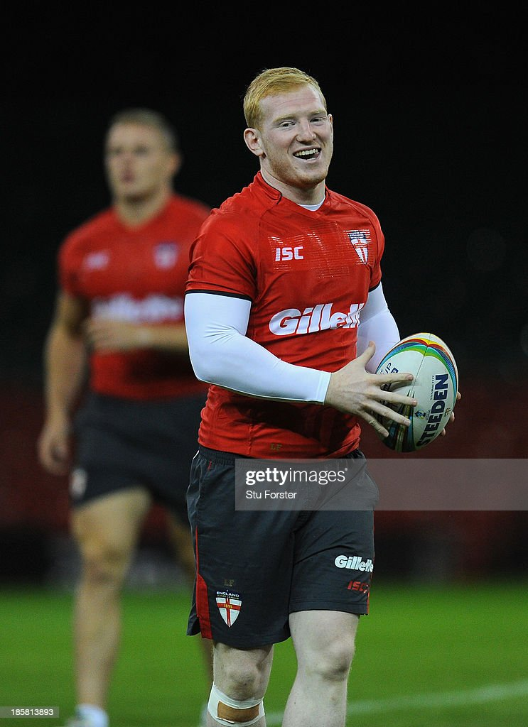 England player Liam Farrell raises a smile during the England captains run, ahead of tomorrows opening match of the 2013 Rugby League World Cup against Australia at Millennium Stadium on October 25, 2013 in Cardiff, Wales.