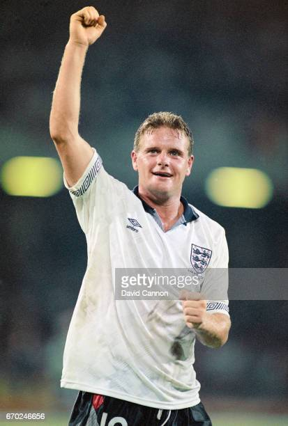 England player Paul Gascoigne celebrates after the 1990 FIFA World Cup quarter final match between England and Cameroon at the San Paolo Stadium on...