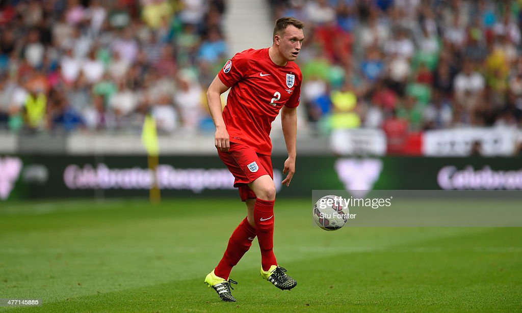 England player <a gi-track='captionPersonalityLinkClicked' href=/galleries/search?phrase=Phil+Jones+-+Soccer+Player&family=editorial&specificpeople=7841291 ng-click='$event.stopPropagation()'>Phil Jones</a> in action during the UEFA EURO 2016 Qualifier between Slovenia and England on at the Stozice Arena on June 14, 2015 in Ljubljana, Slovenia.