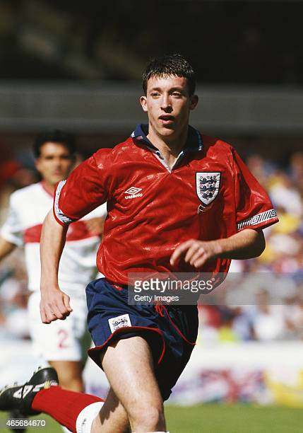 England player Robbie Fowler in action during the UEFA Under18 Championship final against Turkey at the City Ground on July 25 1993 in Nottingham...