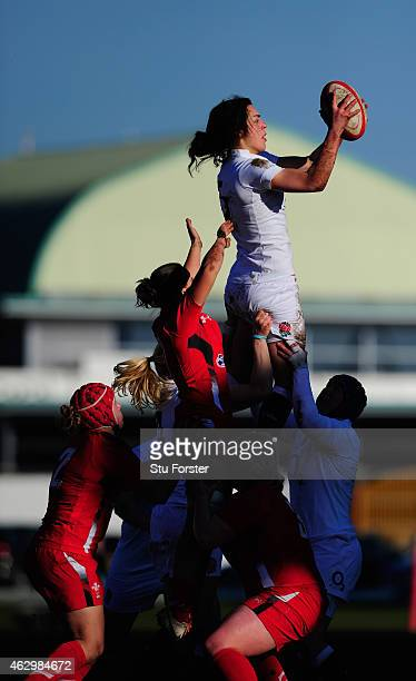 England player Rowena Burnfield wins a lineout during the Six Nations championship match between Wales and England at St Helens RFC on February 8...
