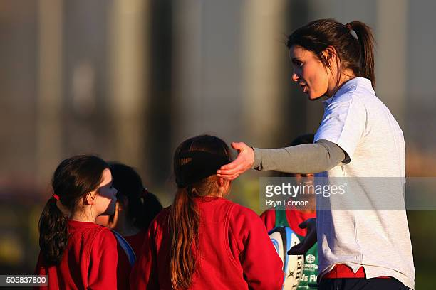 England player Sarah Hunter coaches some children during the Launch of Old Mutual Wealth Kids First at Grasshoppers RFC on January 20 2016 in...