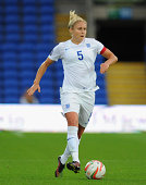 England player Steph Houghton in action during the FIFA 2015 Women's World Cup Group 6 Qualifier between Wales and England at Cardiff City Stadium on...