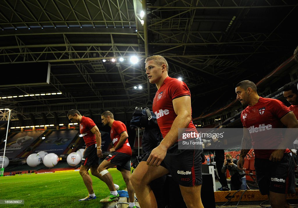 England player Tom Burgess (c) enters the pitch before the England captains run, ahead of tomorrows opening match of the 2013 Rugby League World Cup against Australia at Millennium Stadium on October 25, 2013 in Cardiff, Wales.