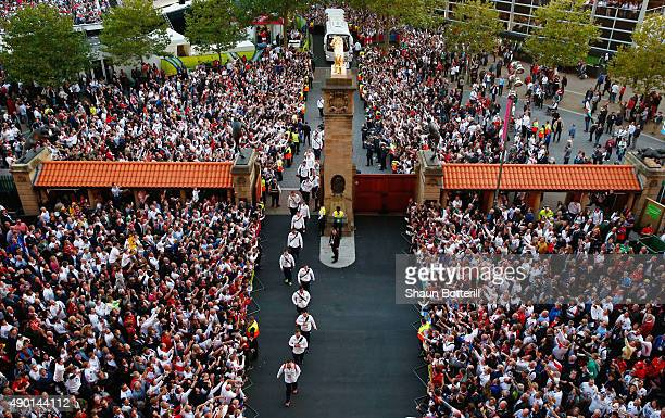 England players arrive prior to the 2015 Rugby World Cup Pool A match between England and Wales at Twickenham Stadium on September 26 2015 in London...