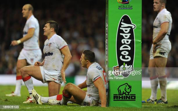 England players Brett Ferres and Sam Burgess react during the Rugby League World Cup Group A match between Australia and England at Millennium...
