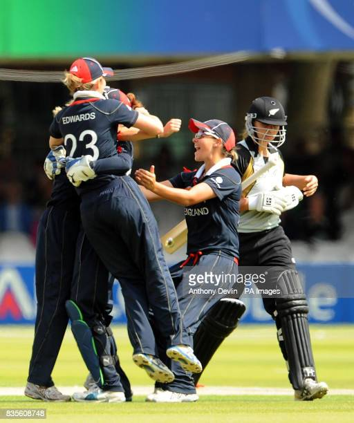 England players celebrate after Laura Marsh took the wicket of New Zealand's Suzie Bates during the Final of the Womens ICC World Twenty20 at Lords...