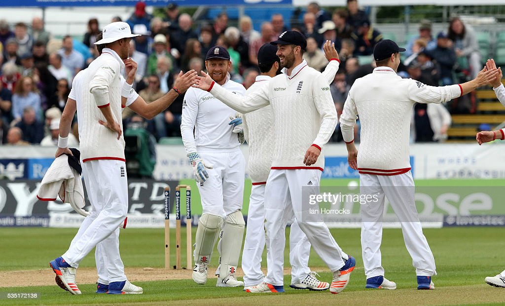 England players celebrate forcing the follow on during day three of the 2nd Investec Test match between England and Sri Lanka at Emirates Durham ICG on May 29, 2016 in Chester-le-Street, United Kingdom.