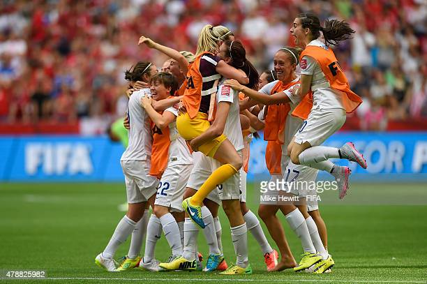 England players celebrate reaching the Semi Finals after victory in the FIFA Women's World Cup 2015 Quarter Final match between England and Canada at...