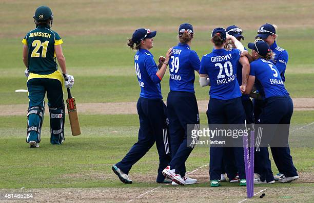 England players celebrate the wicket of Jess Jonassen of Australia during the 1st Royal London ODI of the Women's Ashes Series between England Women...