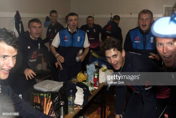 England players celebrate with after win the INAS Learning Disability TriSeries Trophy Final match between England and South Africa on July 21 2017...