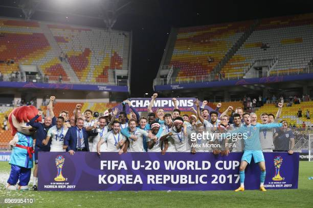 England players celebrate with the trophy during the FIFA U20 World Cup Korea Republic 2017 Final match between Venezuela and England at Suwon World...