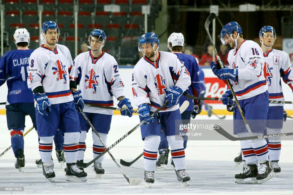 England players during the Sochi 2014 Olympic Ice Hockey Qualification match between France and Great Britain at Riga Arena on February 8, 2013 in Riga, Latvia.