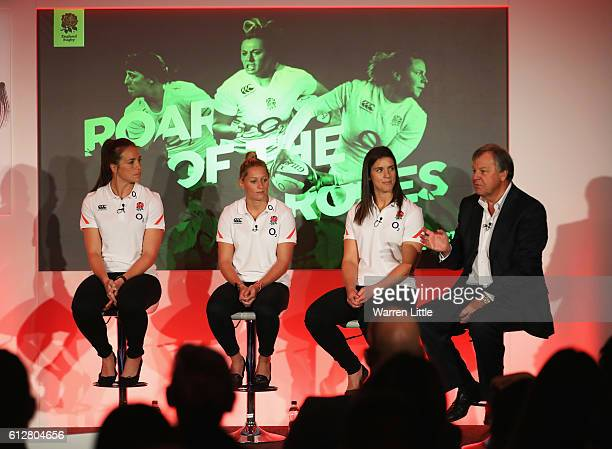 England players Emily Scarratt Natasha Hunt and Sarah Hunter and RFU Chief Executive Ian Ritchie talk during an England Women's Rugby media...