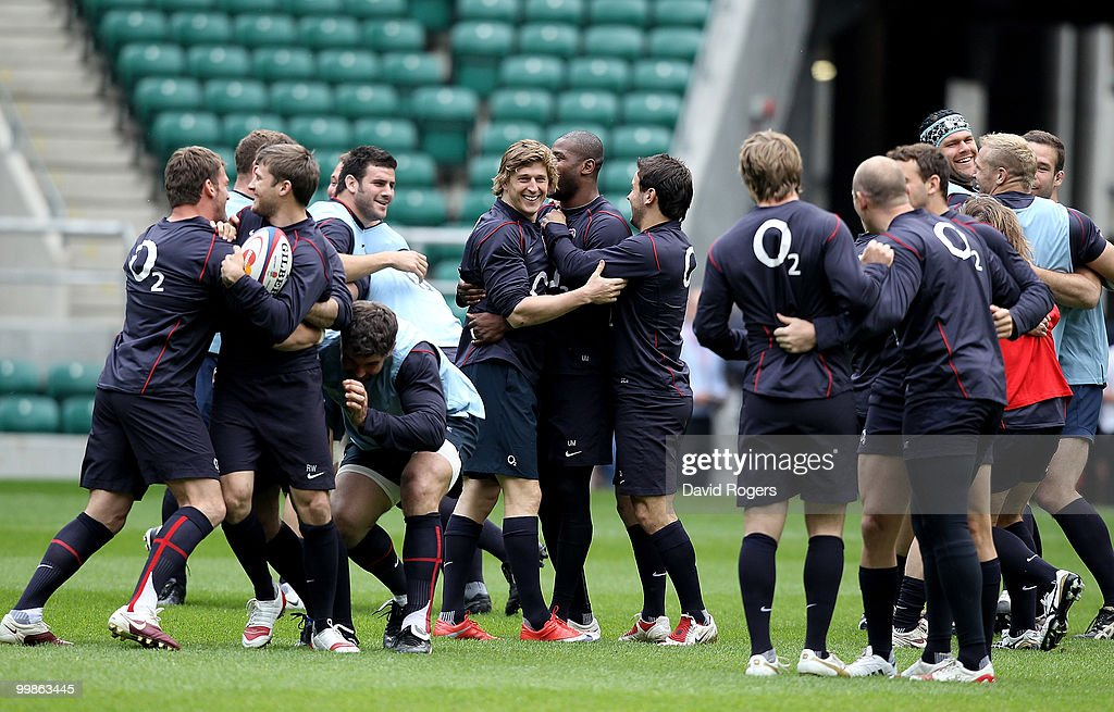 England players enjoy the warm up during an England training session held at Twickenham on May 18, 2010 in Twickenham, England.