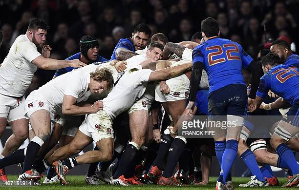England players form a maul during the Six Nations international rugby union match between England and France at Twickenham Stadium south west of...