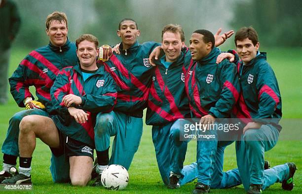 England players from left Chris Woods Paul Gascoigne Carlton Palmer David Platt John Barnes and Nigel Clough pose for a picture during an England...