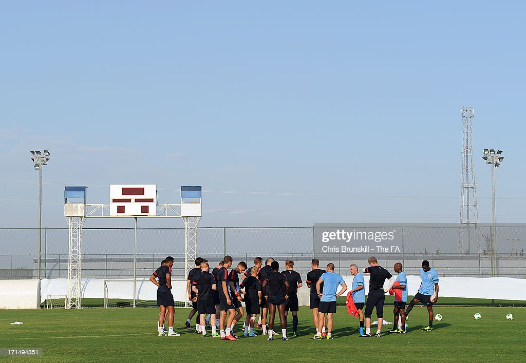 England players gather together during an England U20 training session on June 25, 2013 in Antalya, Turkey.