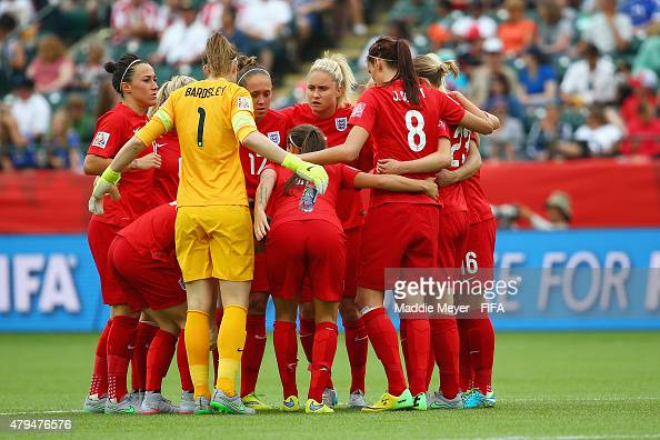 England players huddle togeter during the FIFA Women's World Cup 2015 third place playoff match between Germany and England at Commonwealth Stadium...