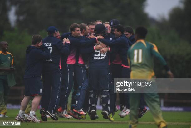 England players hug Dan Bowser after they win the INAS Learning Disability TriSeries Trophy Final match between England and South Africa on July 21...