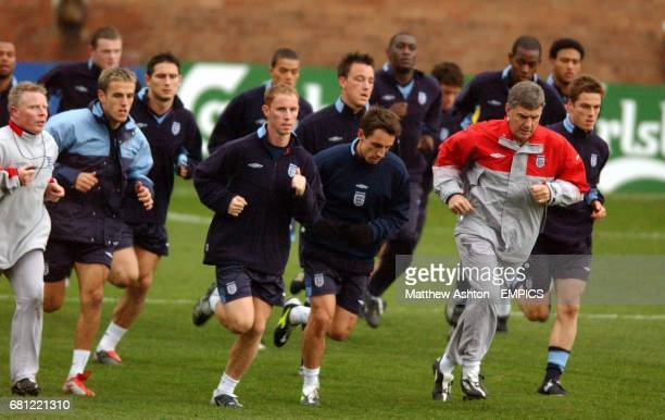England players including Charlton Athletics' Scott Parker warm up before training