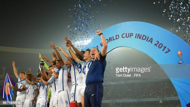 England players lift the trophy after winning the FIFA U17 World Cup India 2017 Final match between England and Spain at Vivekananda Yuba Bharati...