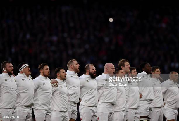 England players line up for the national anthem prior to the RBS Six Nations match between England and France at Twickenham Stadium on February 4...