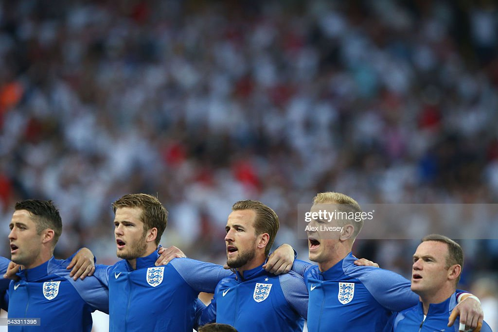 England players line up for the national anthem prior to the UEFA EURO 2016 round of 16 match between England and Iceland at Allianz Riviera Stadium on June 27, 2016 in Nice, France.