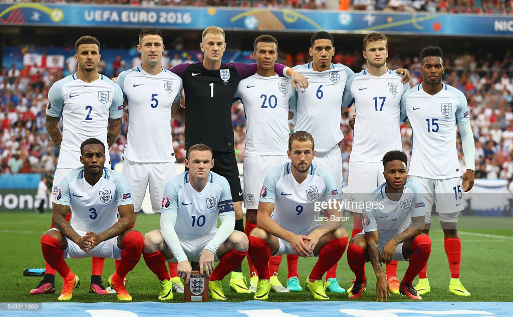 England players line up for the team photos prior to the UEFA EURO 2016 round of 16 match between England and Iceland at Allianz Riviera Stadium on June 27, 2016 in Nice, France.