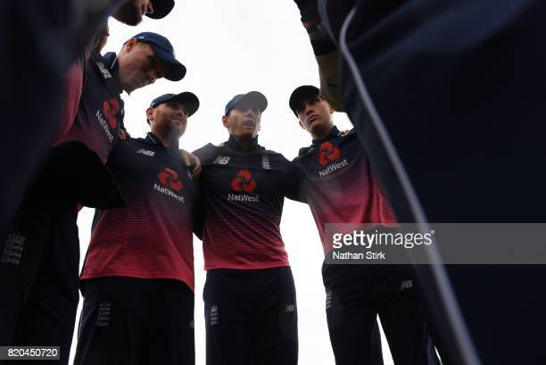 England players listen to Chris Edwards instructions before the INAS Learning Disability TriSeries Trophy Final match between England and South...