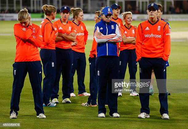 England players look dejected after losing to Australia during the 2nd NatWest T20 of the Women's Ashes Series between England and Australia Women at...