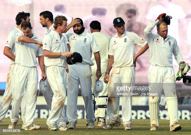 England players look dejected during the fifth day of the First Test Match at the M A Chidambaram Stadium in Chennai India