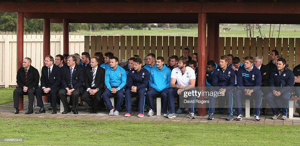England players look on during the Maori traditonal welcome as they vist the Te iti o Haua Marae by the England Rugby Team on June 21, 2014 in Hamilton, New Zealand.