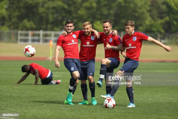 England players pose during an England U21 FIFA World Cup training session at the Jeonju World Cup Stadium Auxiliary Field on May 30 2017 in Jeonju...