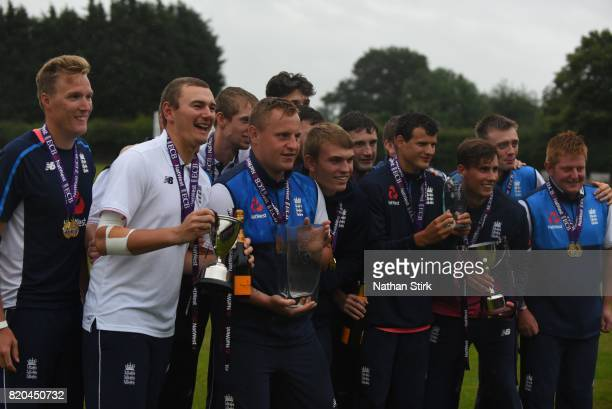 England players pose for photographs with there trophies after they win INAS Learning Disability TriSeries Trophy Final match between England and...
