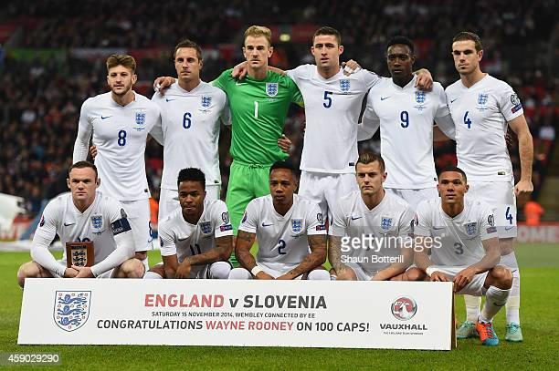 England players pose for the team lineup ahead of the EURO 2016 Qualifier Group E match between England and Slovenia at Wembley Stadium on November...