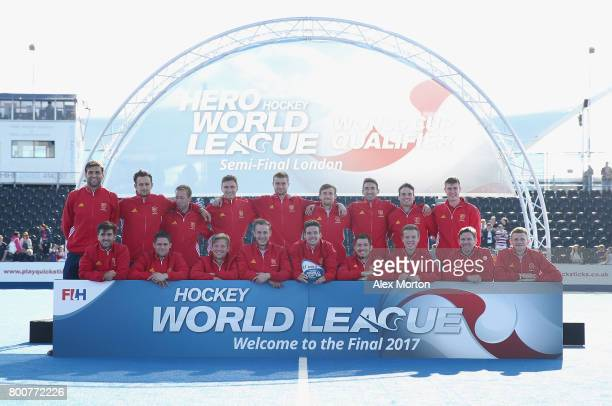 England players pose with their third place trophy after the final match between Argentina and the Netherlands on day nine of the Hero Hockey World...