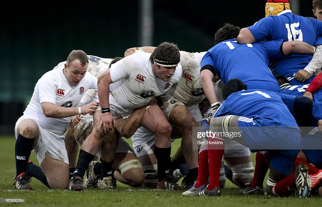 England players prepare themselves for a scrum during the U20s RBS Six Nations match between England U20 and France U20 at the Sixways Stadium on February 23, 2013 in Worcester, England.