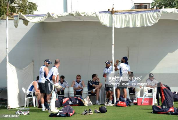 England players relax following a nets practice session at the Sardar Patel Stadium Ahmedabad India