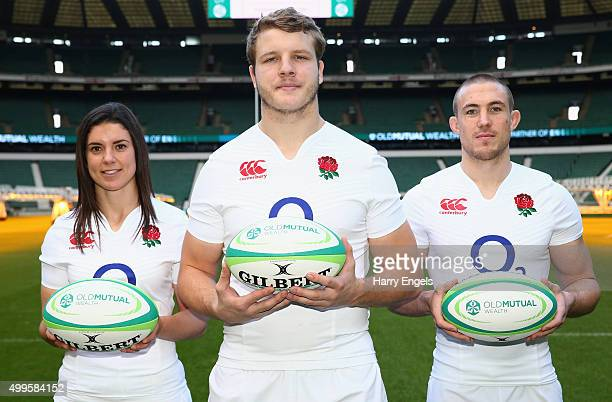 England players Sarah Hunter Joe Launchbury and Mike Brown pose for photographs at the launch of the 2016 Old Mutual Wealth Series at Twickenham...