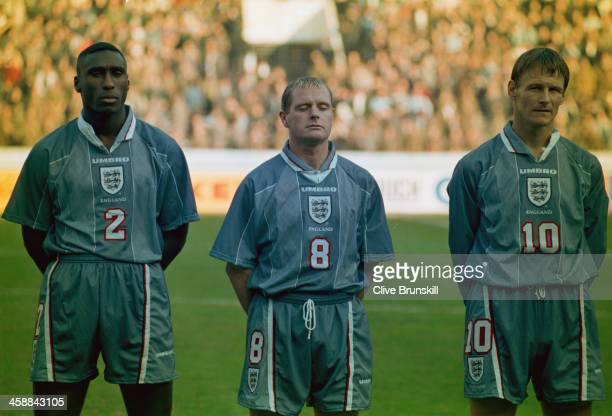England players Sol Campbell Paul Gascoigne and Teddy Sheringham lineup before the FIFA World Cup France 1998 Qualifying match against Ukraine Boris...