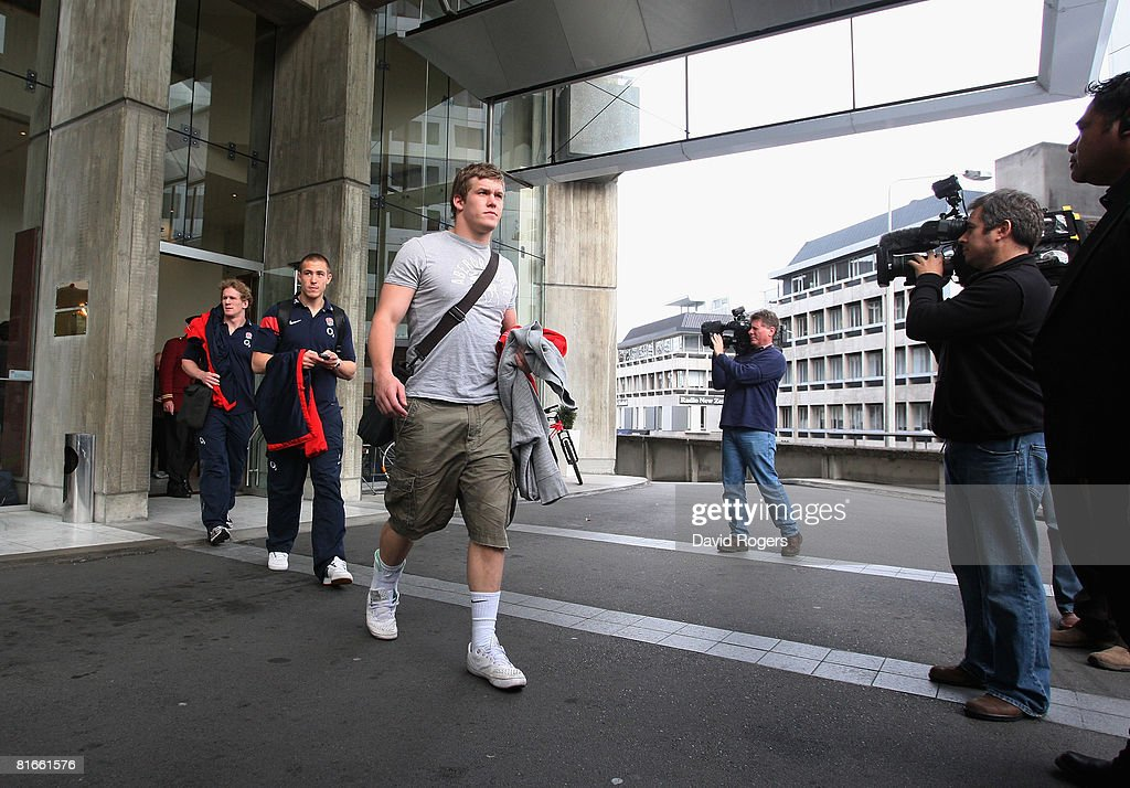 England players Tom Rees Mike Brown and Luke Narraway leave the Crowne Plaza Hotel the team hotel on June 22 2008 in Christchurch New Zealand