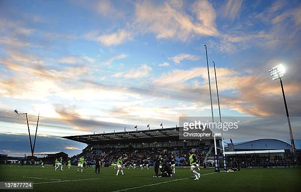 England players warm up during the International Friendly match between England Saxons and 02 Irish Wolfhounds at Sandy Park on January 28 2012 in...