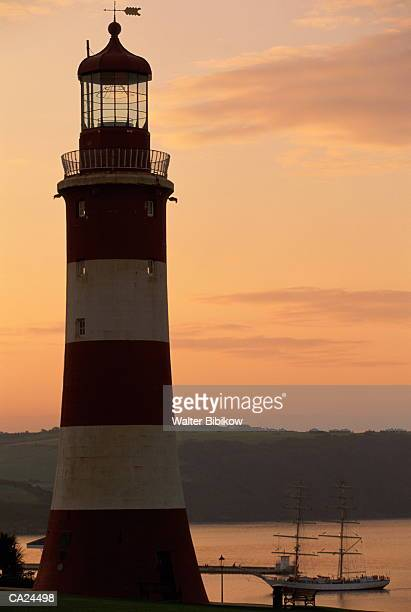England, Plymouth, Smeaton's Lighthouse above the Hoe, dawn