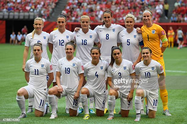 England pose for a team photo ahead of the FIFA Women's World Cup 2015 Quarter Final match between England and Canada at BC Place Stadium on June 27...
