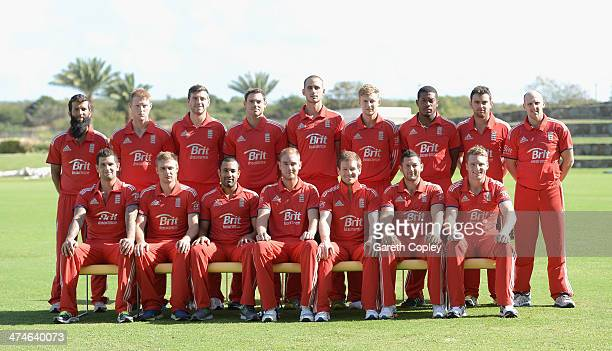 England pose from their team photograph at Sir Viv Richards Cricket Ground on February 24 2014 in Antigua Antigua and Barbuda