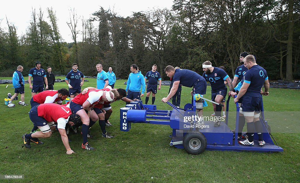 England practice scrummaging during the England training session held at Pennyhill Park on October 29, 2013 in Bagshot, England.