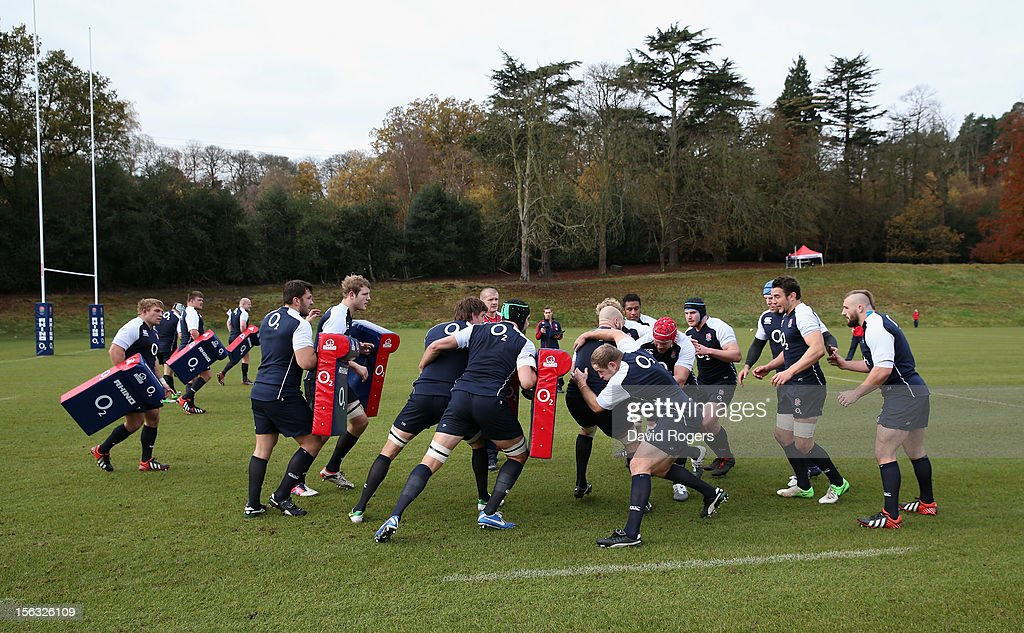England practice their mauling technique during the England training session held at Pennyhill Park on November 13, 2012 in Bagshot, England.