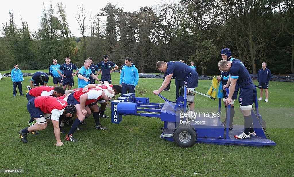 England practice their scrummaging during the England training session held at Pennyhill Park on October 29, 2013 in Bagshot, England.
